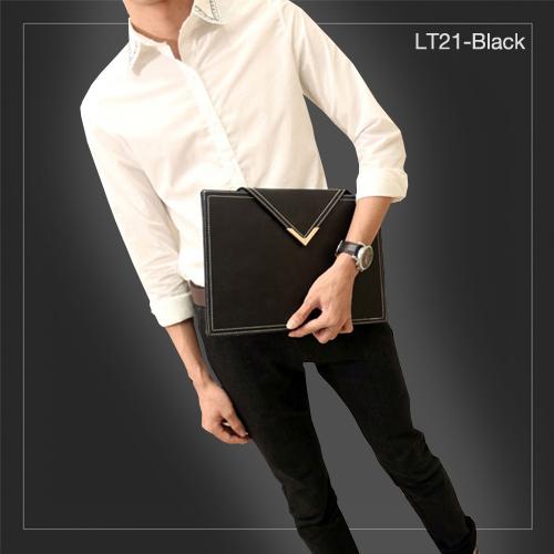 LT21-Black กระเป๋าถือ กระเป๋าคลัช ผู้ชาย A4 หนัง Crazy Horse PU สีดำ