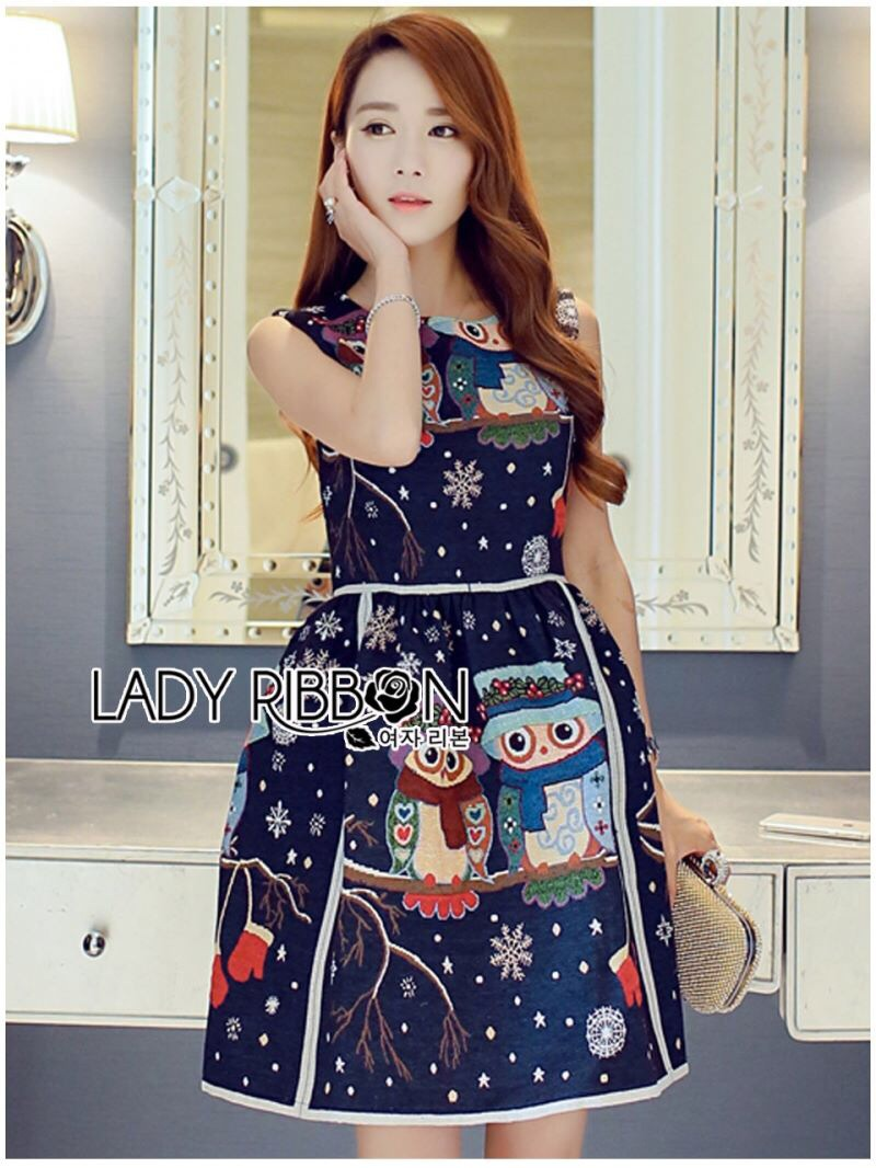 Lady Ribbon's Made Lady Jessica Super Cute and Sweet Owl Embroidered Dress สีกรมท่า