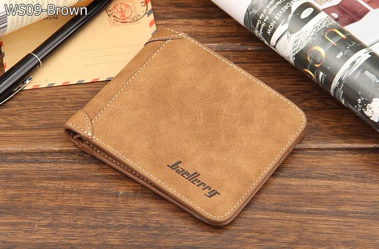 ( ลดล้างสต๊อค ) WS09-Brown กระเป๋าสตางค์ใบสั้น แนวนอน กระเป๋าสตางค์ผู้ชาย หนัง PU เกรดเอ สีน้ำตาล