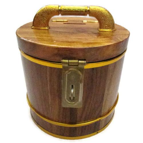 ถังเงิน ถังทอง กระปุกออมสิน ไม้สัก ทรงกลม 5 นิ้ว