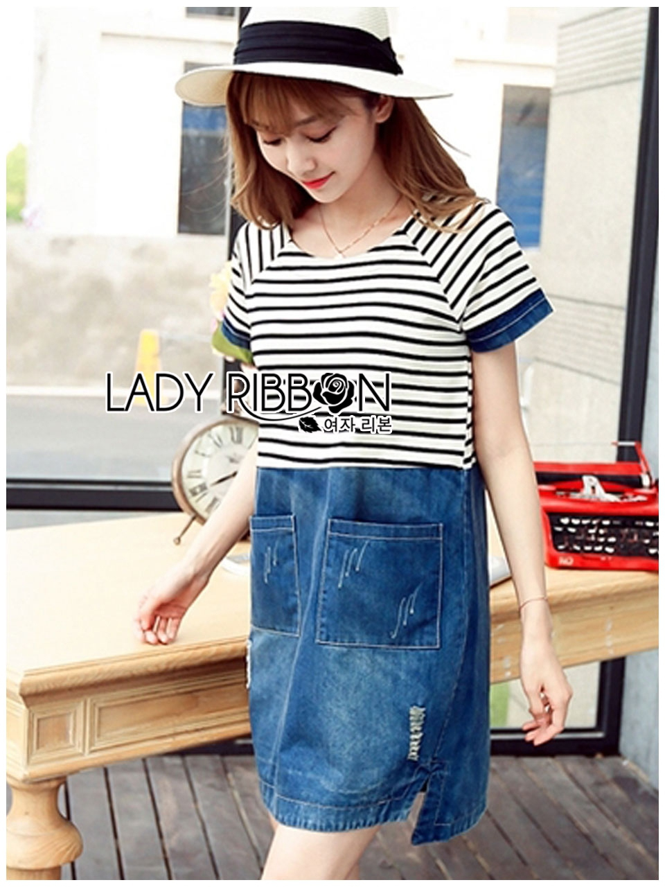 Lady Miranda Casual Minimal Striped and Denim Dress