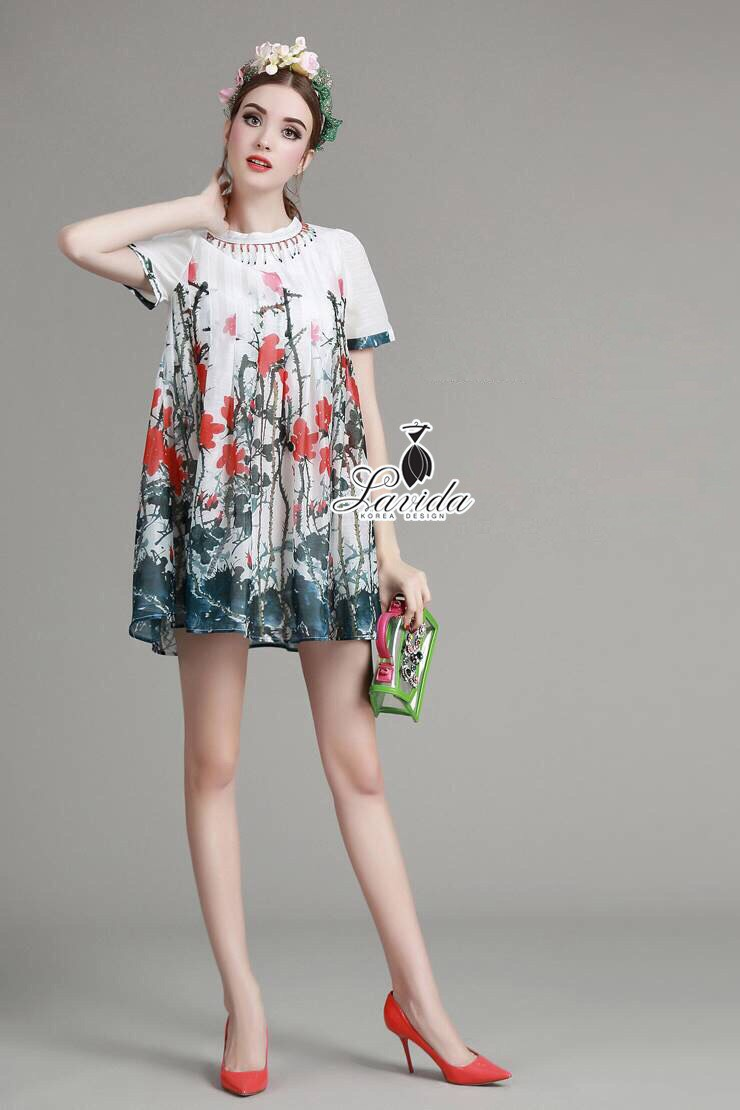 Korea Design By Lavida bead decorated neck colorful floral printed dress