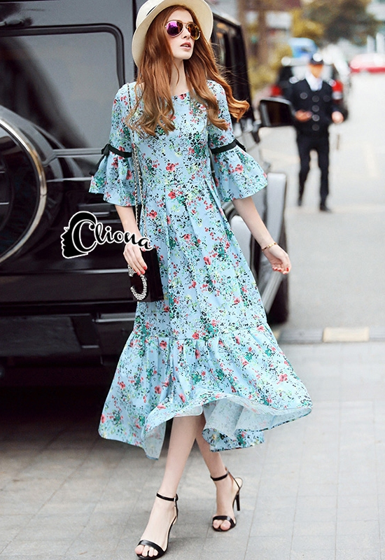 Cliona Made' Provence Floral Line Long Dress