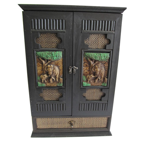 ตู้ยา ตู้ใส่ของอเนกประสงค์ 2 ประตู ทำจากไม้ แกะสลักรูปช้าง