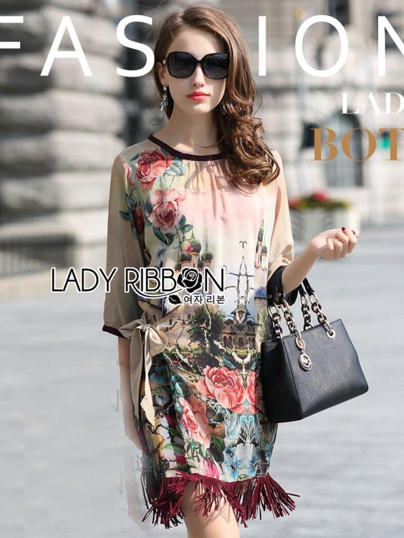 Lady Ribbon's Made Lady Tamara Sexy Dramatic Floral Printed Fringed Satin Dress