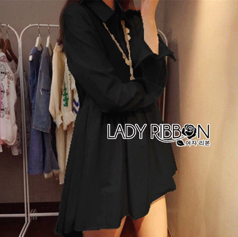 Lady Ribbon's Made Lady Jane Feminine Asymmetric Peplum Cotton Shirt Dress สีดำ
