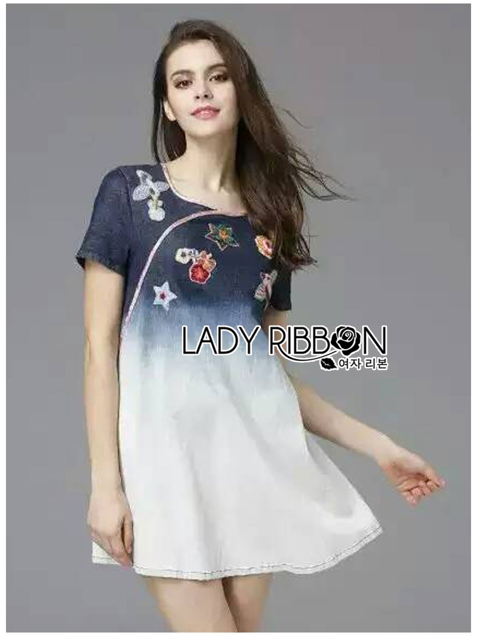 Lady Ribbon's Made Lady Sylvia Embroidered Washed Denim Mini Dress