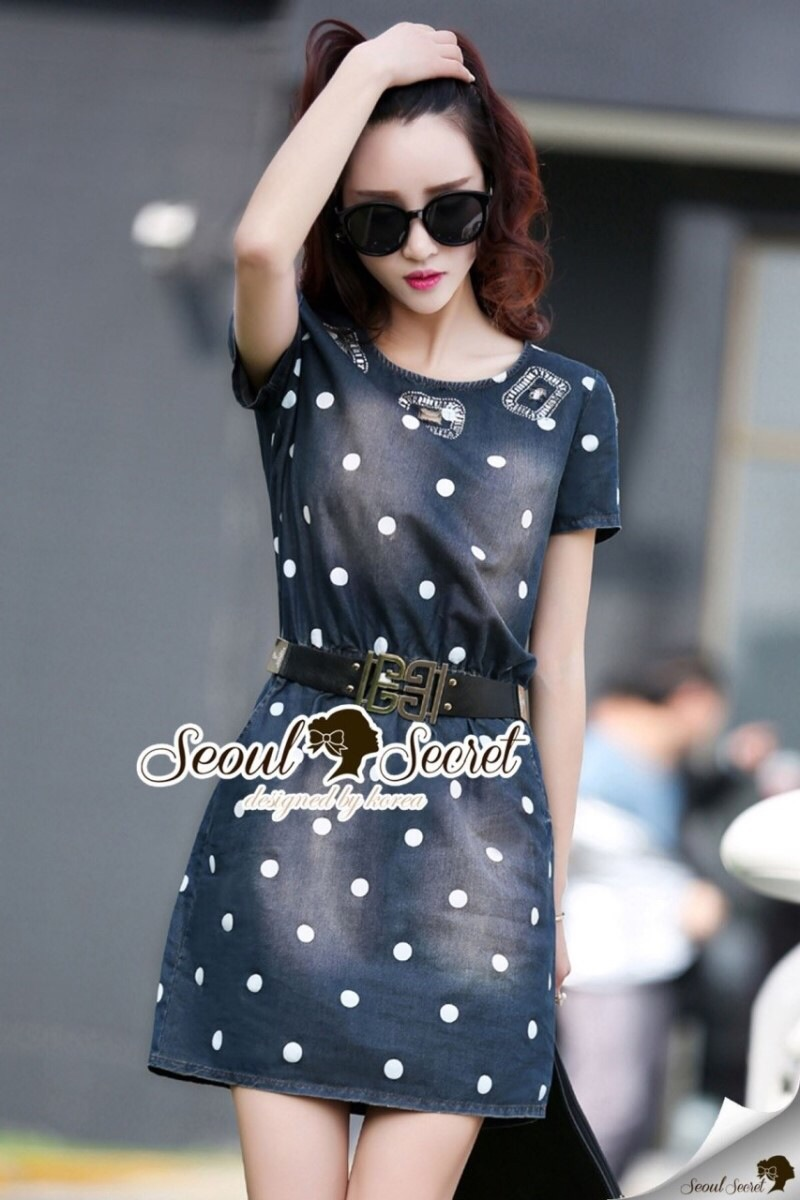 Seoul Secret Say's... Dotty Dotty Denim Dress