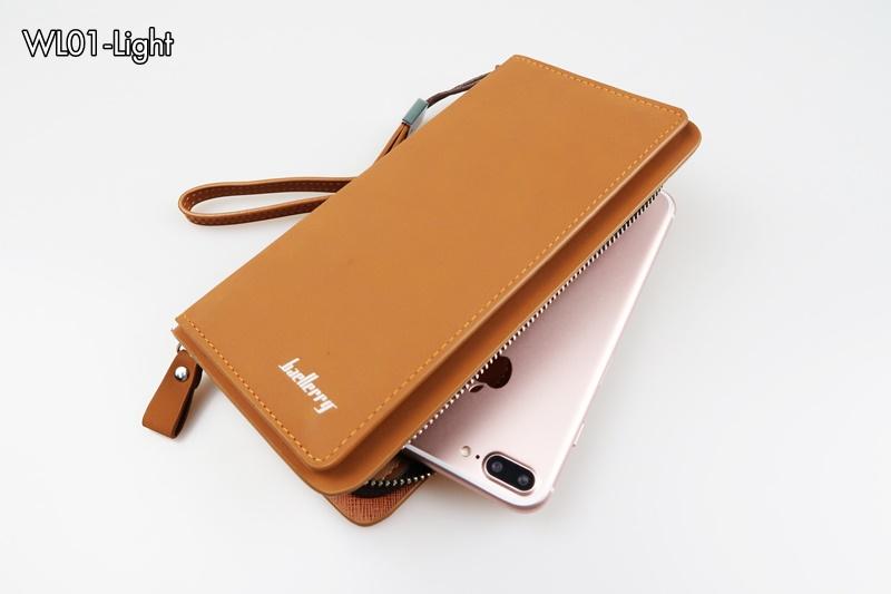 ( ลดล้างสต๊อค ) WL01-Light กระเป๋าสตางค์ใบยาว กระเป๋าสตางค์ผู้ชาย หนัง PU สีน้ำตาลอ่อน