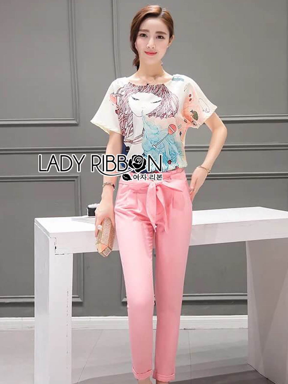 Lady Ribbon's Made Lady Margie Playful Printed Top and Pink Ribbon Pants Set