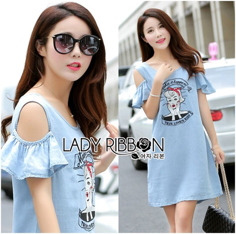 Lady Ribbon's Made Lady Natasha Casual Playful Cut-out Embroidered Denim Dress