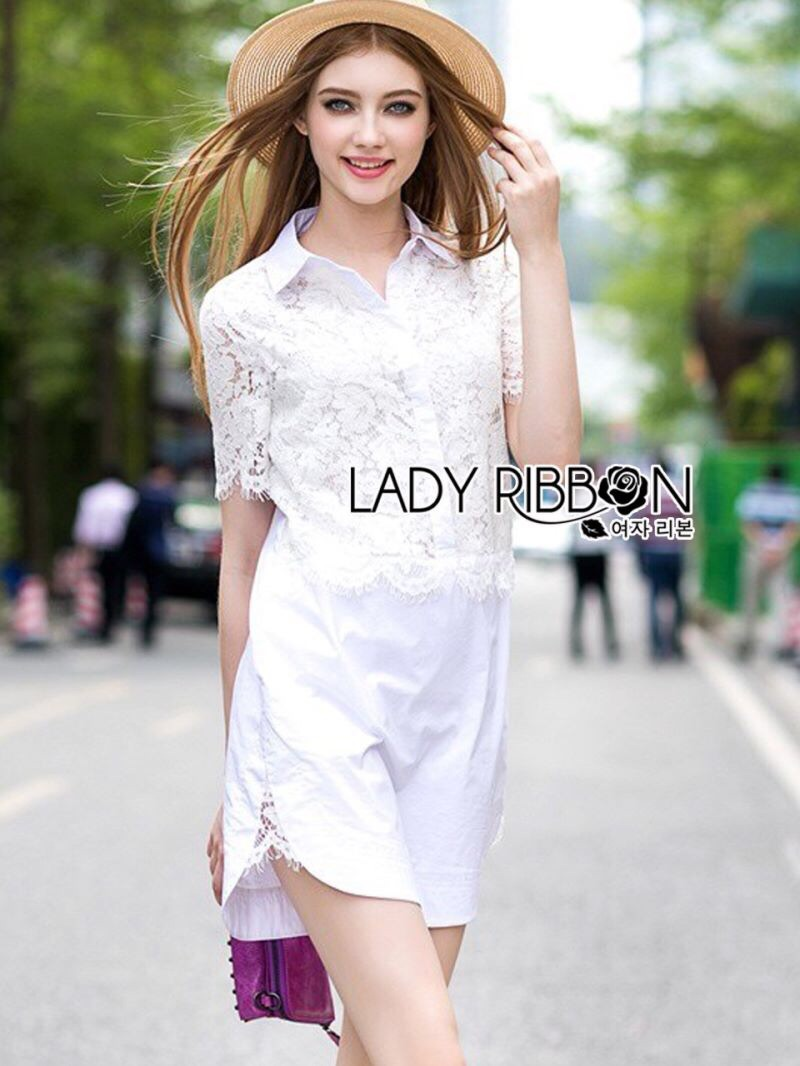 Lady Ribbon's Made Lady Katie Casual Feminine Lace and Cotton Shirt Dress