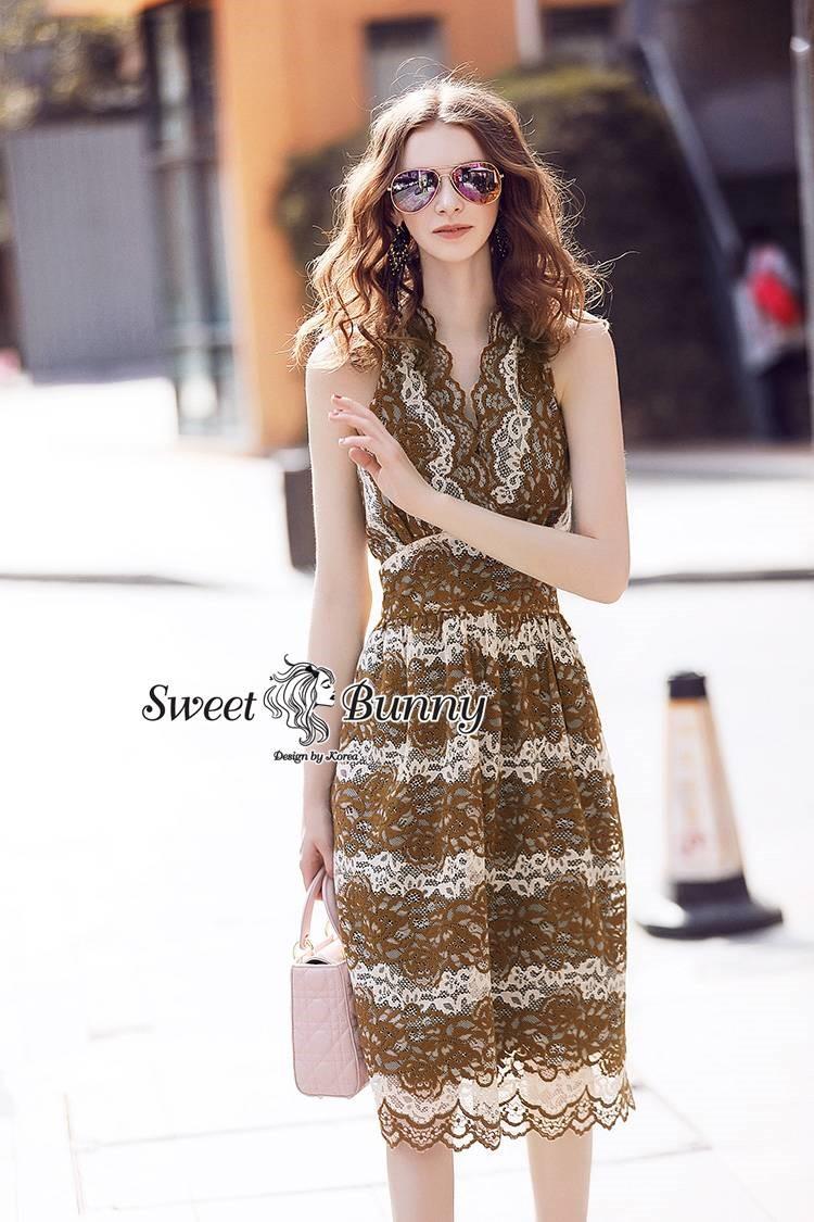 Sweet Bunny Present... Lace Insert Sleeveless Brown Dress