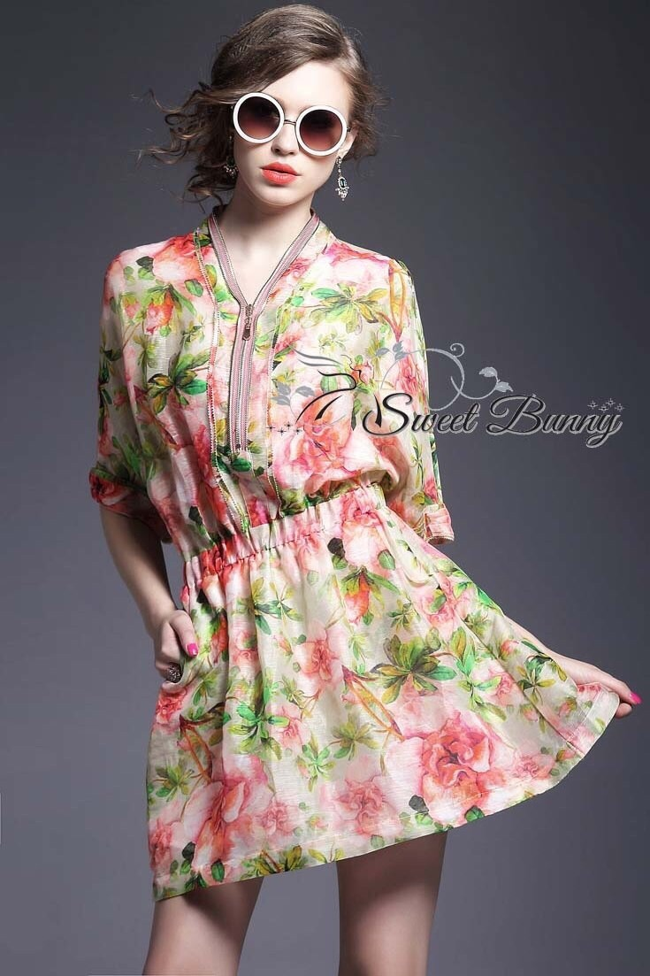 Zip neck floral dress by Sweet Bunny