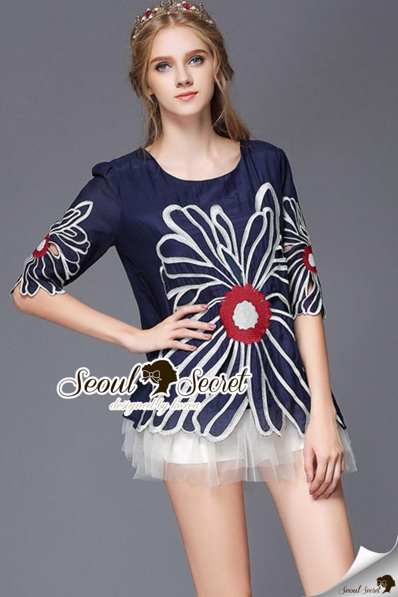 Seoul Secret Say's... Bloom Rope Stick Navy Dress