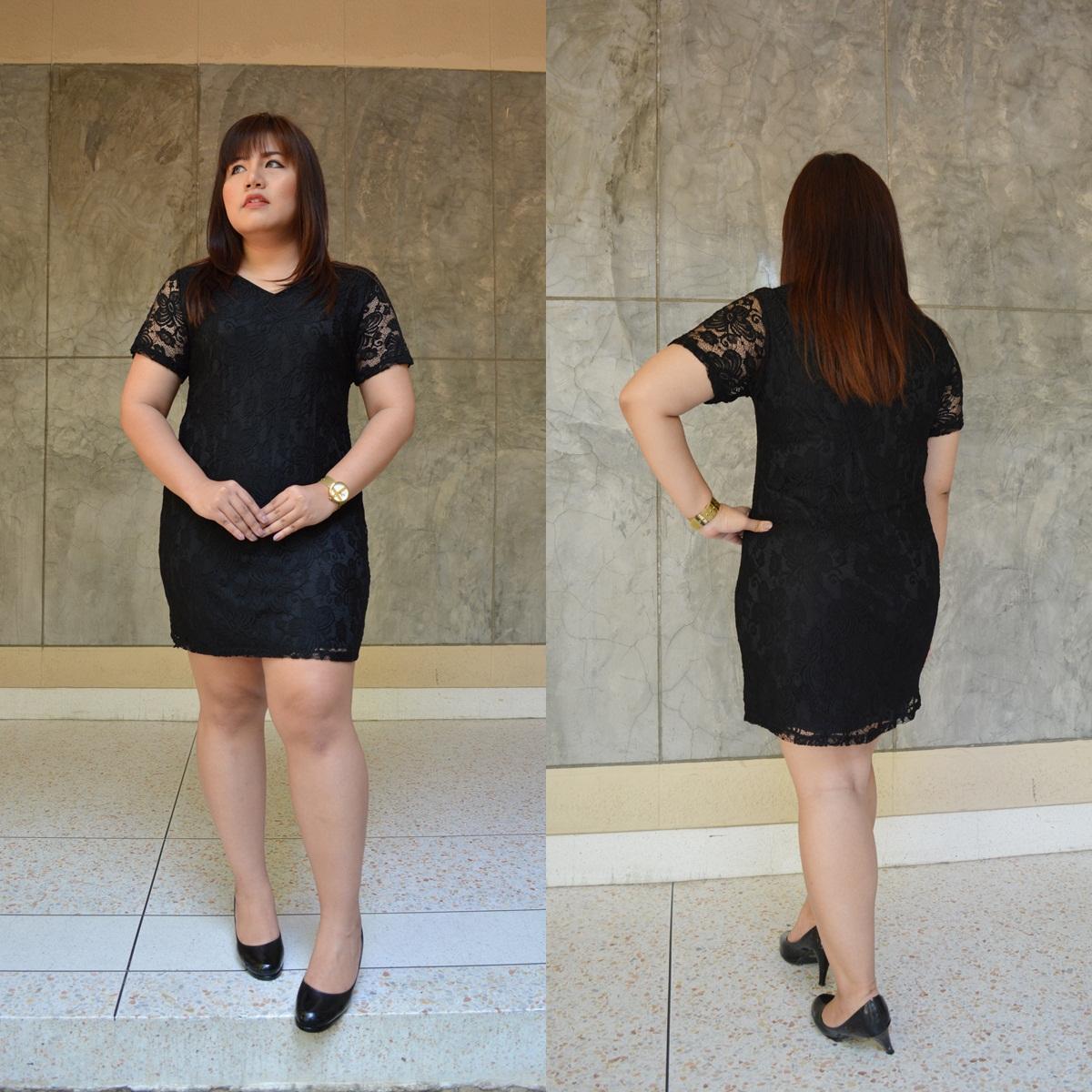 ชุดดำพร้อมส่ง สำหรับสาวอวบ++ F 36-43 นิ้ว T5109