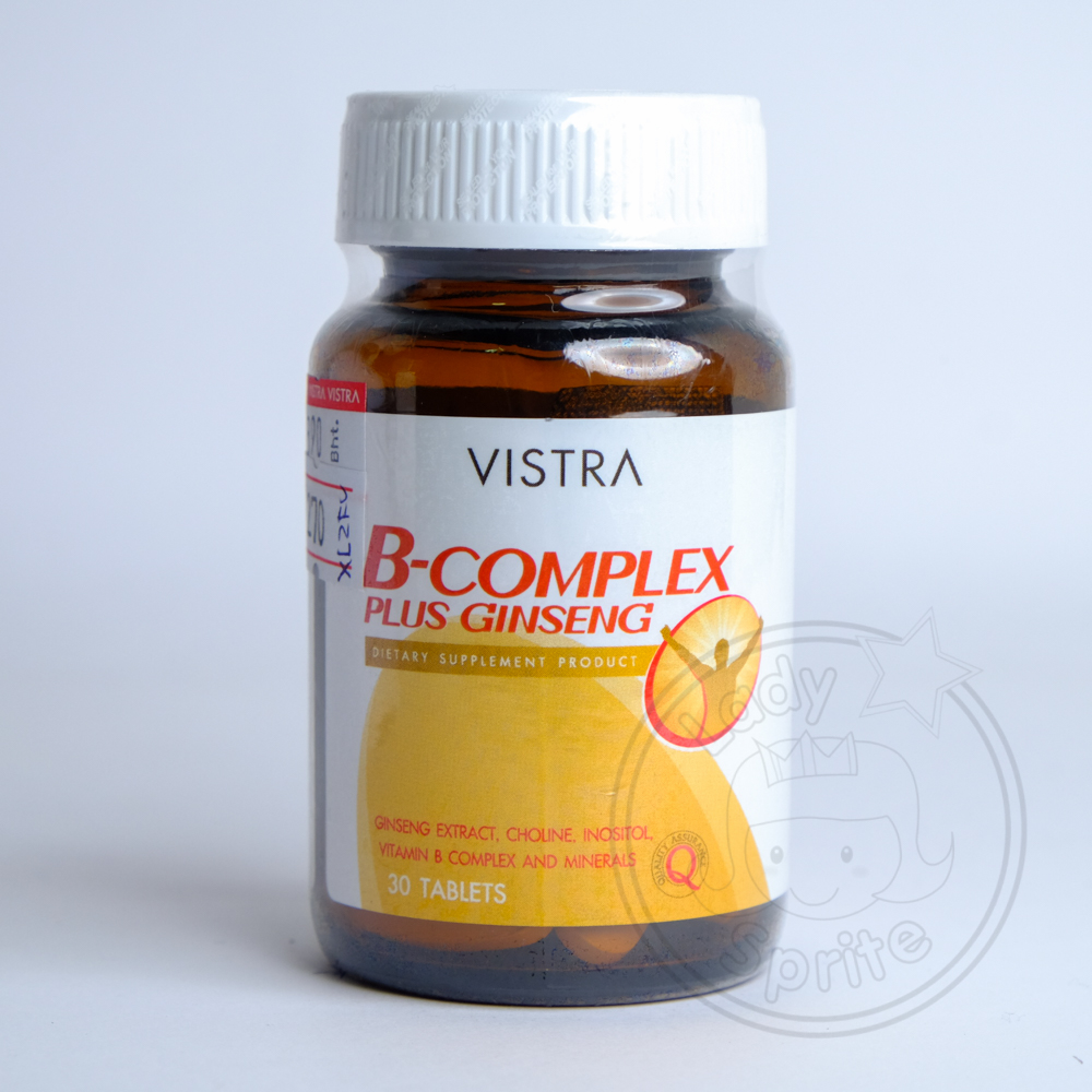 Vistra B-Complex Plus Ginseng วิตามินบีรวมผสมโสม 30เม็ด
