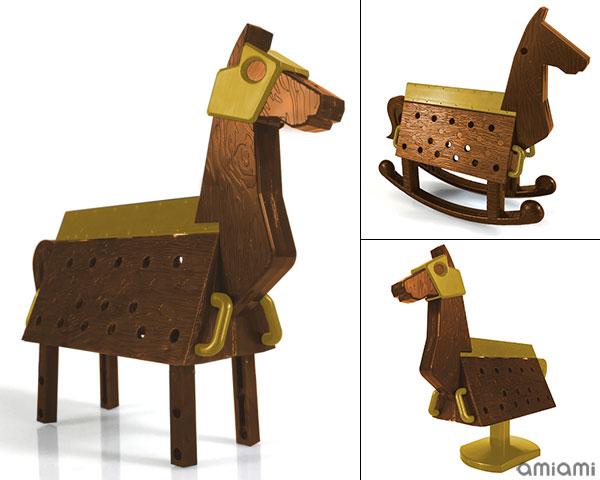 Love Toys Vol.3 Sankaku Mokuba Wooden horse 1/12 Unpainted Assembly Kit(Pre-order)