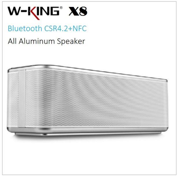 เป็นลำโพง ดีไซน์สวยงาม ดูหรูหรา คุณภาพเสียงดี เสียงใส ฟังนุ่มสบายเบสแน่น ลำโพง W-King รุ่น X8 ที่เด่นมากคือเสียงกลางชัดเจน เสียงแหลมไม่บาดหู ข้อดีอีกข้อคือ ไม่จำเป็นต้องเปิดเพลงเสียงดังมาก เสียงก็ออกครบ มี เทคโนโลยี NFC (Near Field Communication) : ที่ช่วยให้คุณเชื่อมต่อ Bluetooth ได้ง่ายยิ่งขึ้น ส่วนกำลังขับใส่มาให้ถึง 16 W + กับแผ่น Passive Radiator ขนาดใหญ่ ถึง 2 แผ่น หน้าและหลัง ช่วยกันทำหน้าที่ถ่ายทอดเสียงเบสเสียงกลองได้อย่างมีมิติ เสียงสมจริงเหมือนกับฟังวงดนตรีสดๆ สามารถฟังเพลงแบบต่อเนื่องได้ ยาวนานประมาณ 7-10 ช.ม.