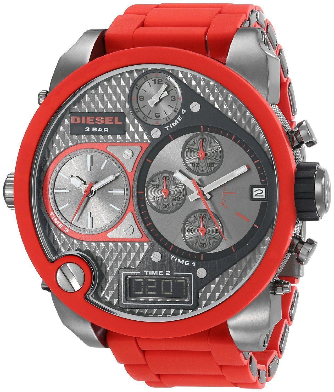 นาฬิกาผู้ชาย Diesel รุ่น DZ7279, MR. DADDY CHRONOGRAPH RED SILICONE GUNMETAL