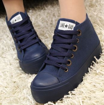 (พร้อมส่ง) รองเท้าผ้าใบผูกเชือกพื้นหนาสไตล์เกาหลี