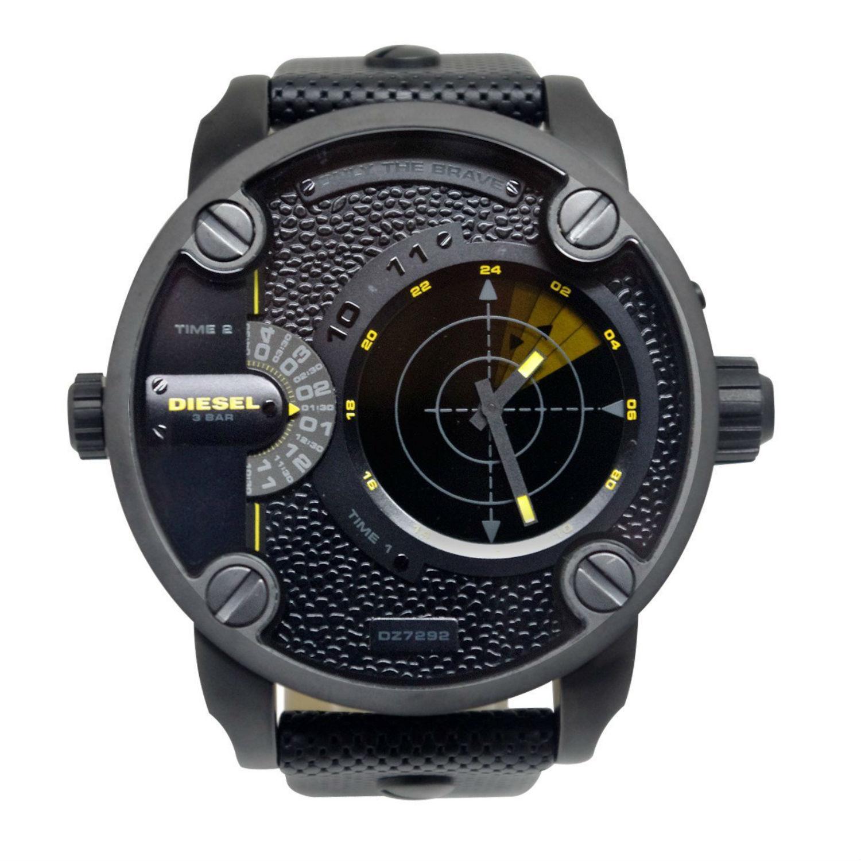 นาฬิกาผู้ชาย Diesel รุ่น DZ7292, Daddy GMT Black Leather Men's Watch