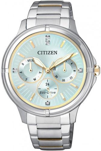 นาฬิกาข้อมือผู้หญิง Citizen Eco-Drive รุ่น FD2034-50W, Swarovski Crystal Multi Dial Elegant