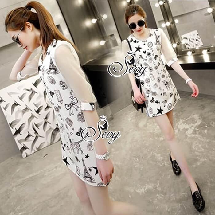 Sevy Spring Korean Printed Round Neck Org Sleeve Mini Dress