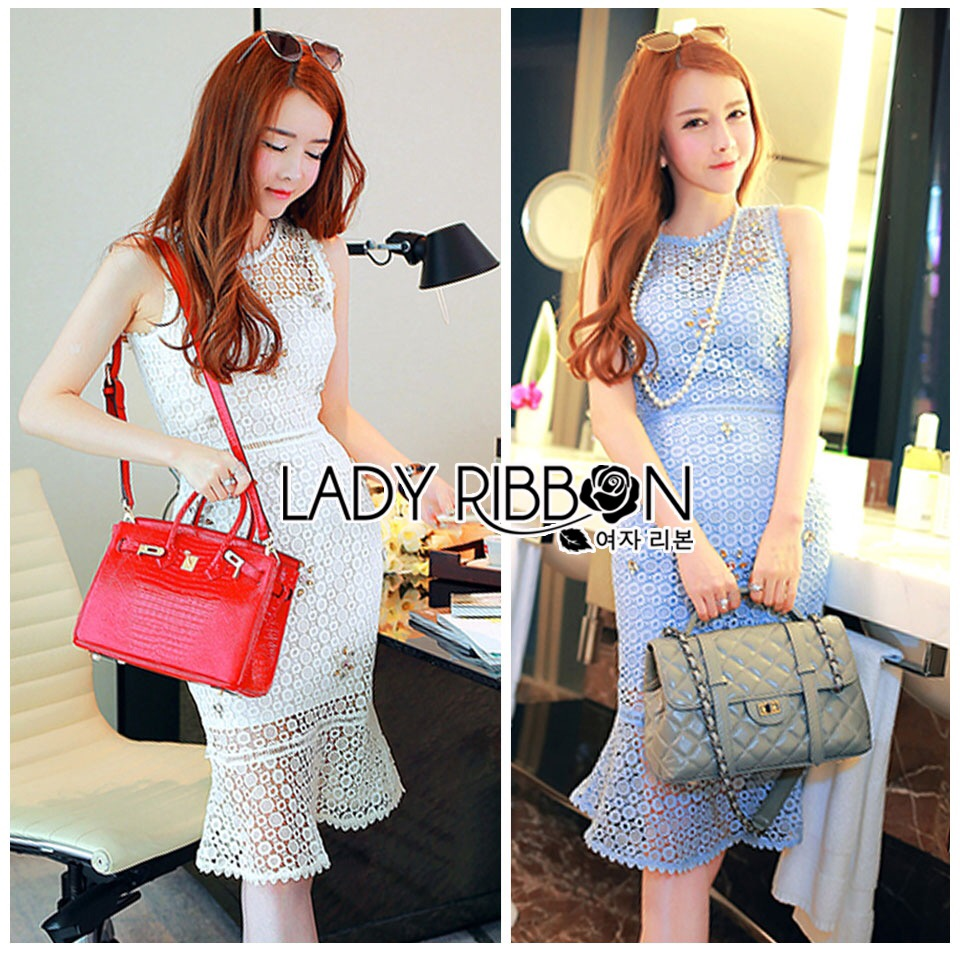 Lady Ribbon Korea Dress &#x1F380 Lady Ribbon's Made &#x1F380 Lady Nara Feminine Elegant Crystal Embroidered Lace Dress