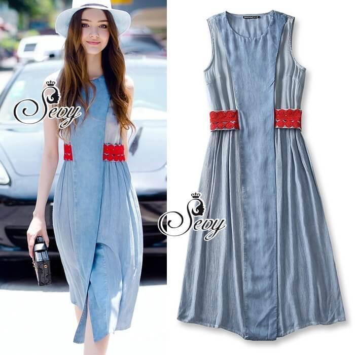 Sevy Soft Denim Blue Red Lace Waist Midi Dress