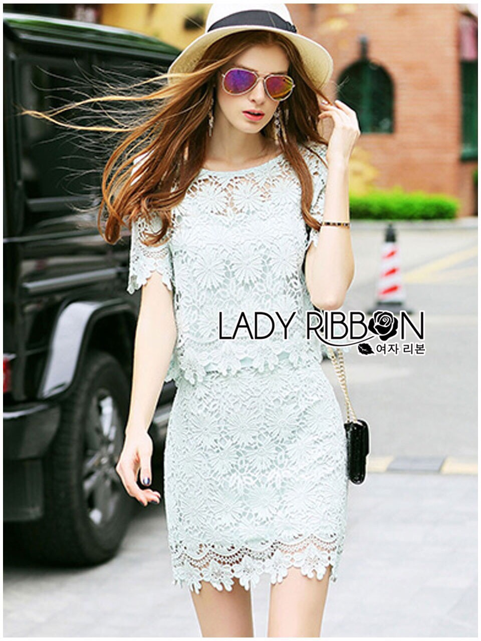 Lady Ribbon Korea Dress ลูกไม้ LR02130616 &#x1F380 Lady Ribbon's Made &#x1F380 Lady Jane Sweet Feminine Minty Lace Set