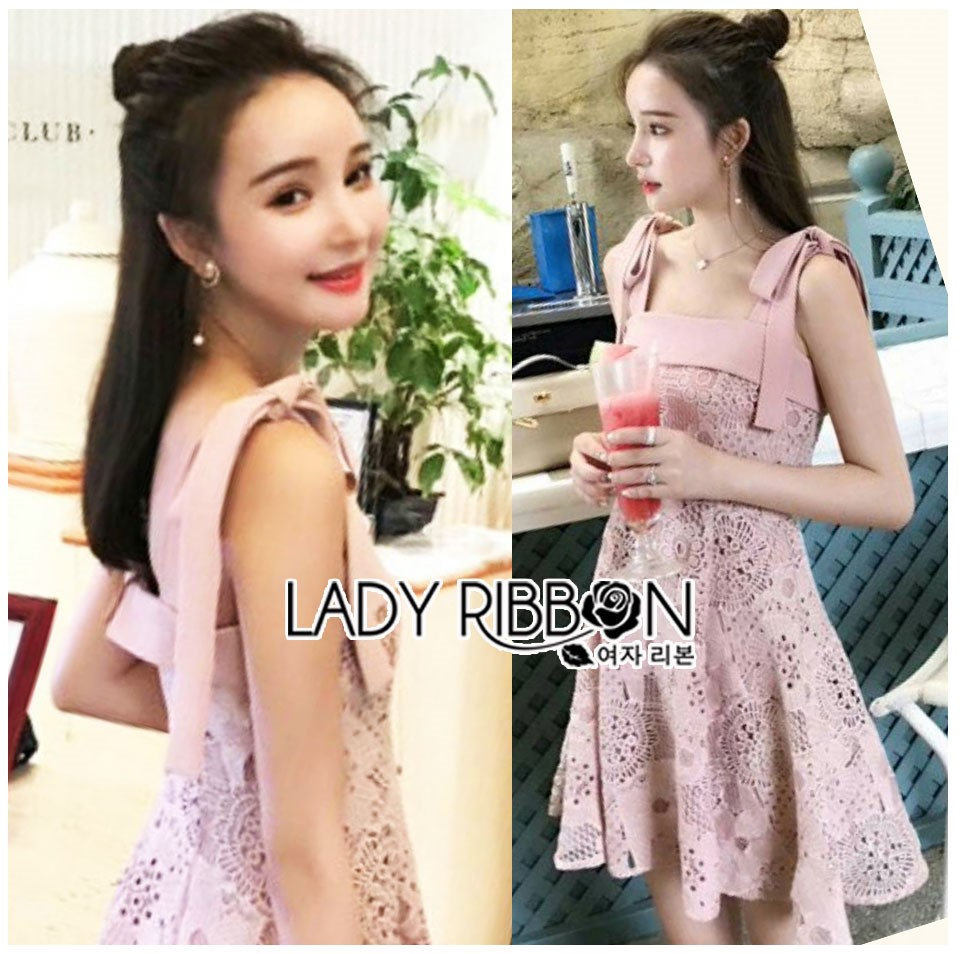 🎀 Lady Ribbon's Made 🎀Lady Eleanor Summer-Time Feminine Ribbon-Strap Lace Mini Dress