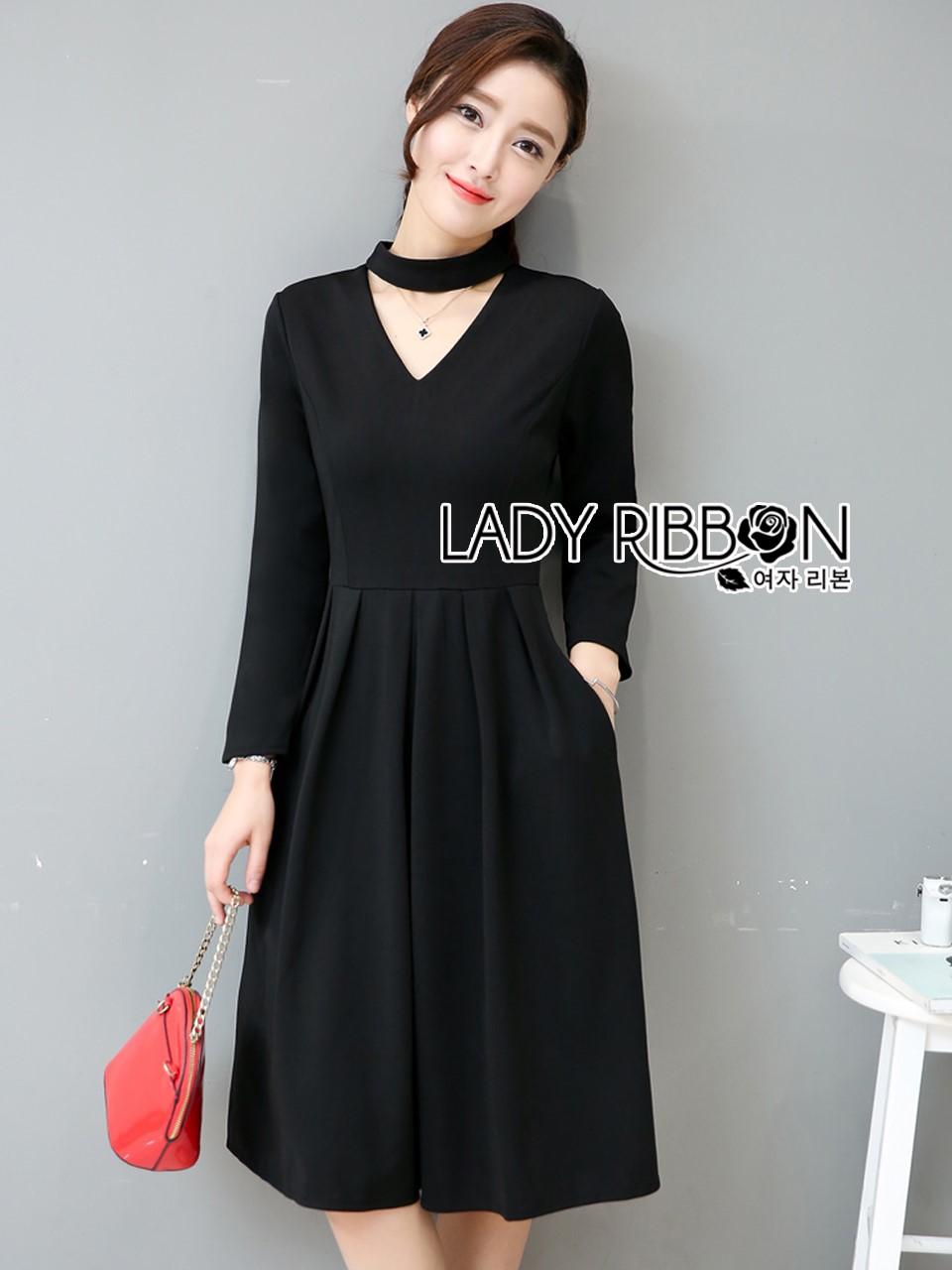 &#x1F380 Lady Ribbon's Made &#x1F380 Lady Lily Minimal Elegant Cut-Out Plain Black Dress