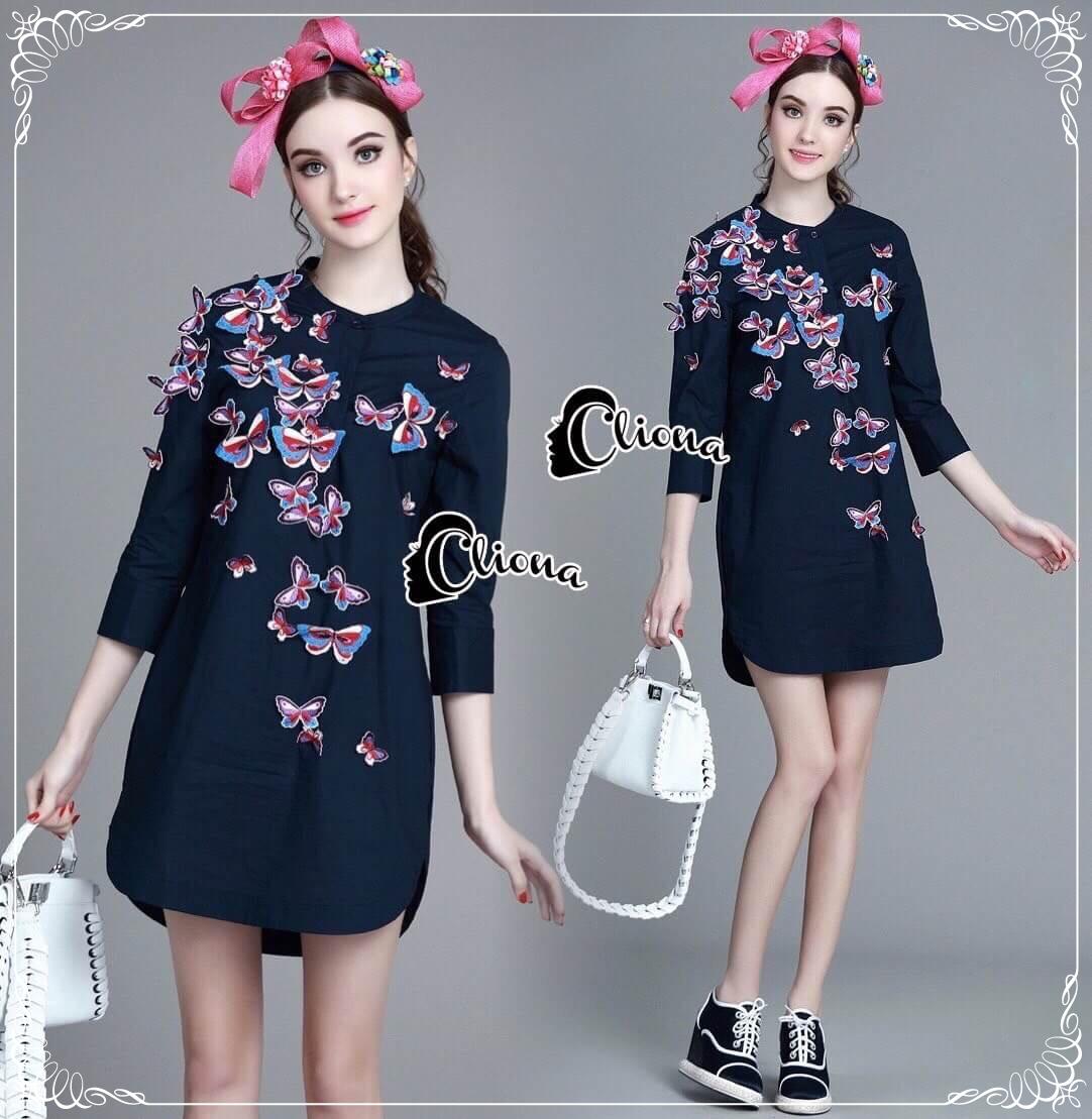 Cliona made'Flying 4D Butterfly Luxury Shirt Dress - Dress Shirt