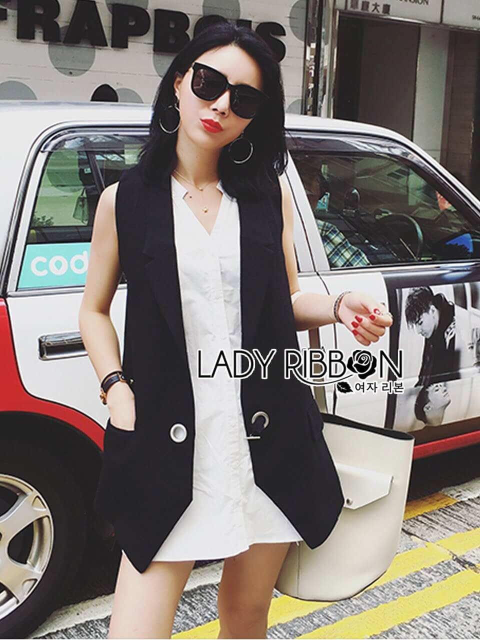 &#x1F380 Lady Ribbon's Made &#x1F380 Lady Alice Smart Casual Sleeveless Black Suit and Long White Shirt Set