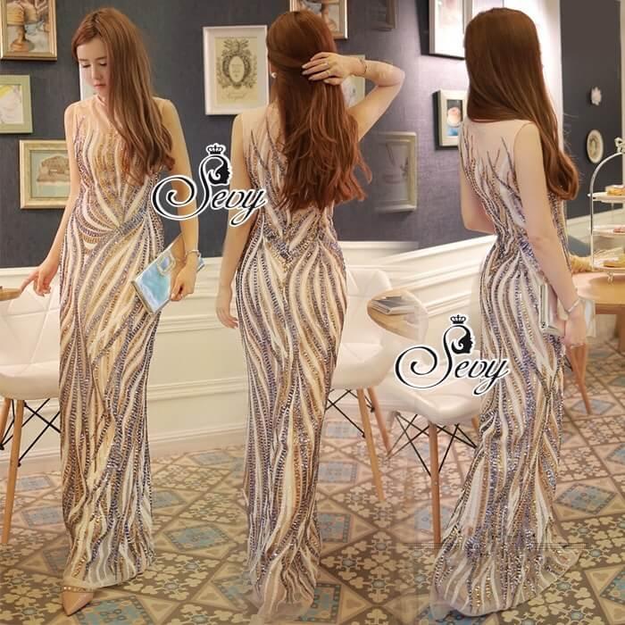 Sevy Elegant Golden Curve Line Gala Dress