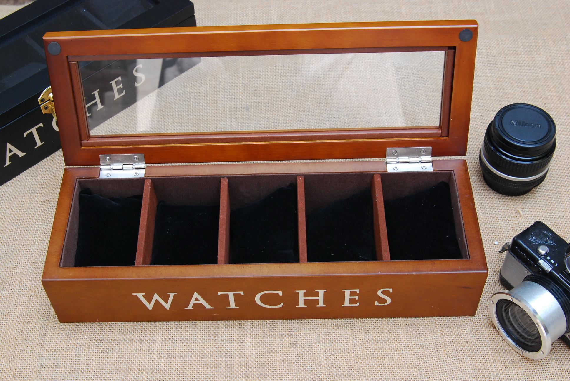 กล่องไม้เก็บนาฬิกา 5 เรือน สีน้ำตาล