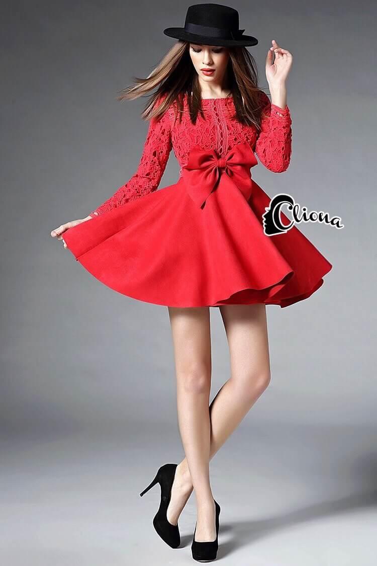 Cliona made'Luxury Lace Ribon Long Sleeves Dress - Mini dress