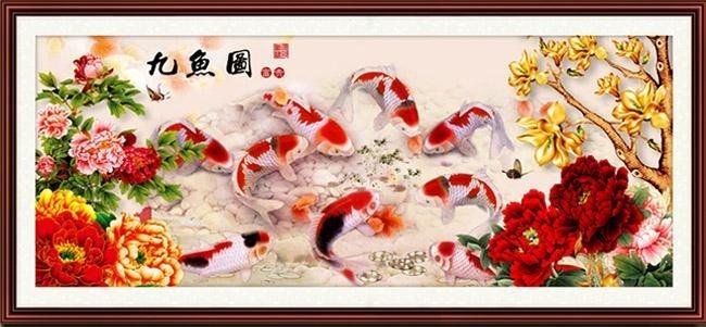 ชุดปักครอสติช ลาย 9 ปลาคราฟในสวนดอกไม้มงคล (งานปักเต็มลาย) ขนาด 150*65 ซม.ผ้าครอสติช 11CTพิมพ์ลายปักเต็มลายผ้า ไหมคอตตอน 65 สี ผังลาย เข็ม