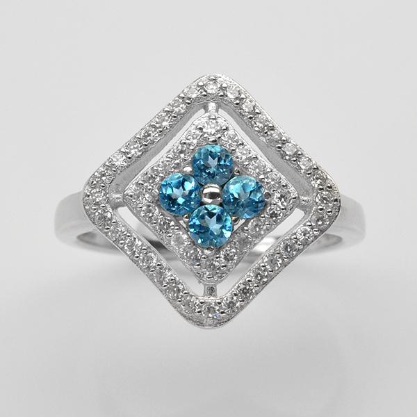 แหวนพลอยแท้ แหวนเงินแท้925 ชุบทองคำขาวพลอยบลูโทปาส ประดับเพชร CZ เกรดพรีเมี่ยม