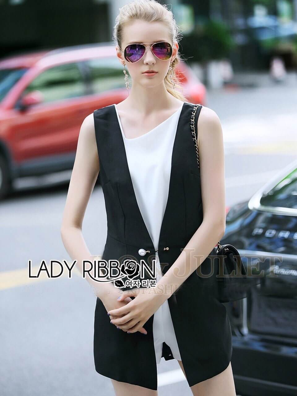 &#x1F380 Lady Ribbon's Made &#x1F380 Lady Anna Casual Chic Black and White Playsuit with Pearl Pin