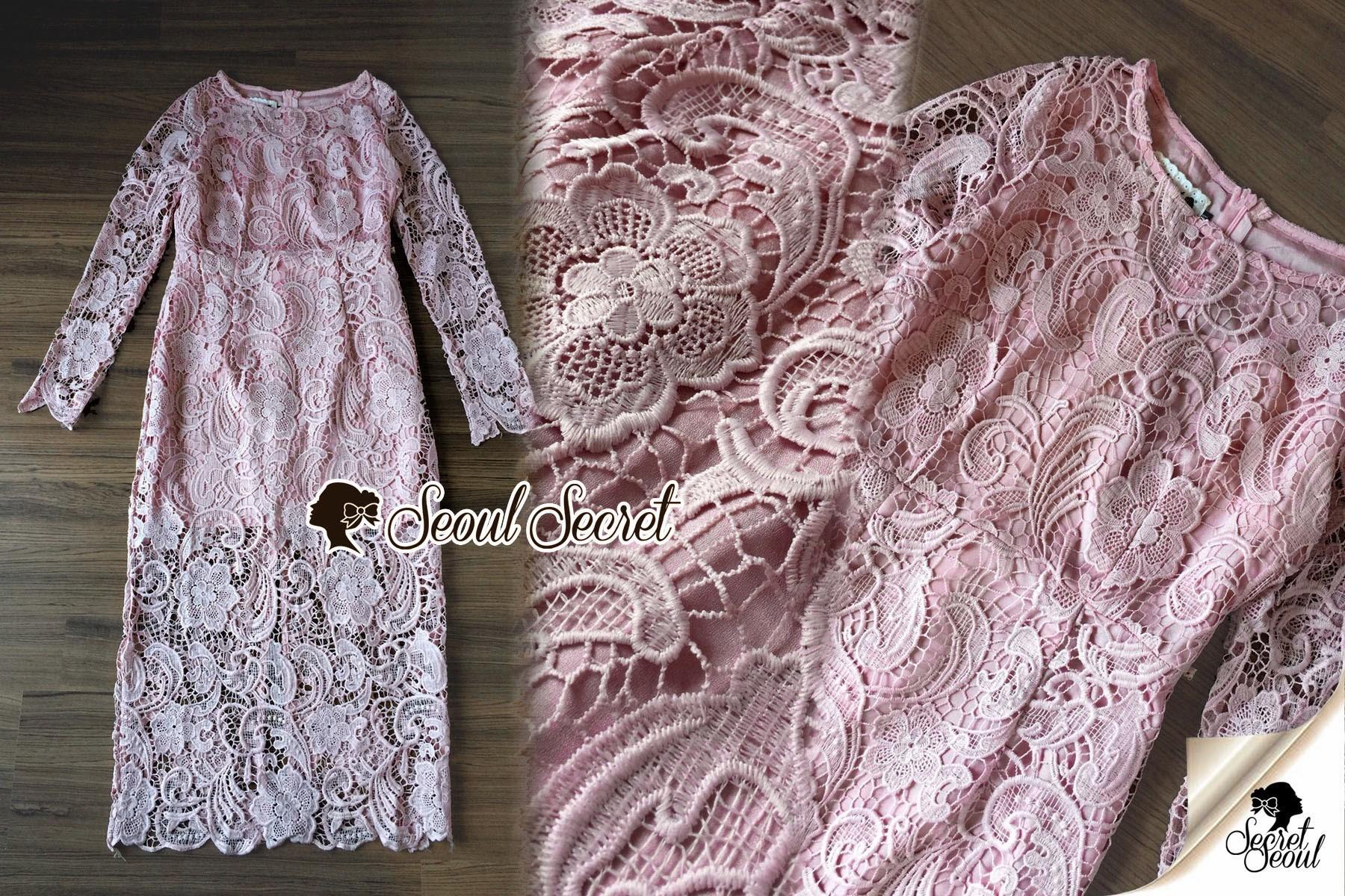 Seoul Secret Say's... Pastel Pink Droplet Lace Dress
