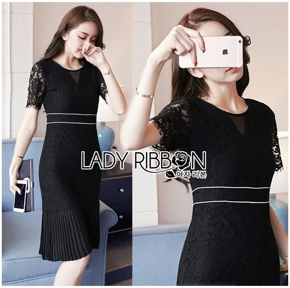 &#x1F380 Lady Ribbon's Made &#x1F380 Lady Jessica Classy & Modern Black Lace Dress with Pleated Trim