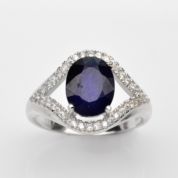 แหวนพลอยแท้ แหวนเงิน925 พลอยไพลิน ประดับเพชร CZ ชุบทองคำขาว