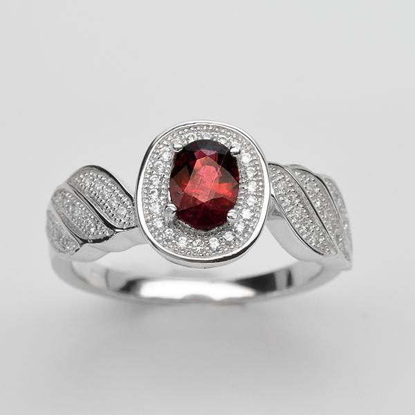 แหวนพลอยแท้ แหวนเงิน925 พลอย ทัวร์มาลิน ประดับเพชร CZ ชุบทองคำขาว