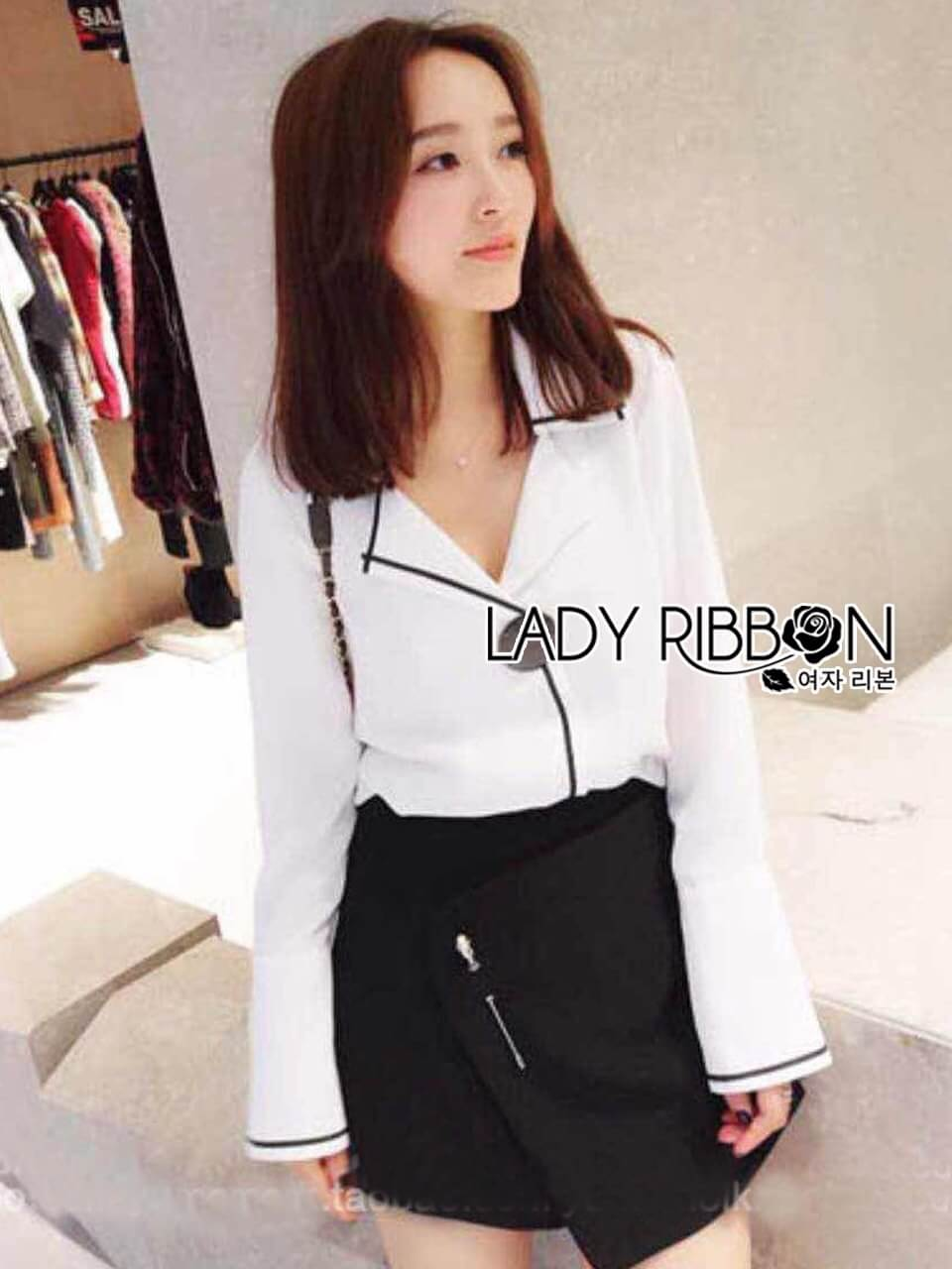 &#x1F380 Lady Ribbon's Made &#x1F380 Lady Grace Minimal Chic Monochrome White Shirt and Black Shorts Set