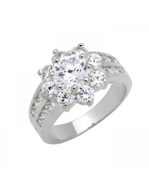 แหวนประดับเพชรฝังหนามเตยและฝังสอด ชุบทองคำขาวแท้