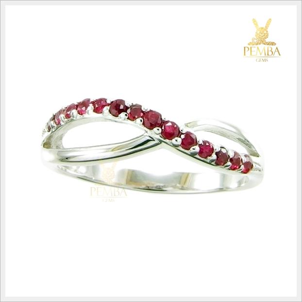 แหวนทับทิมสยาม Infinity เงินแท้ชุบทองคำขาว