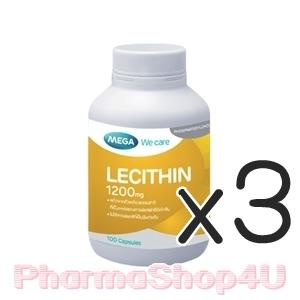 (ซื้อ3 ราคาพิเศษ) MEGA We Care Lecithin 1200mg 100เม็ด เลซิตินจากถั่วเหลือง พัฒนาสมอง เสริมสร้างความจำ ลดอาการท่อน้ำนมอุดตัน เต้านมคัดแข็งเป็นไต ปั๊มไม่ออก จนปวดเต้า