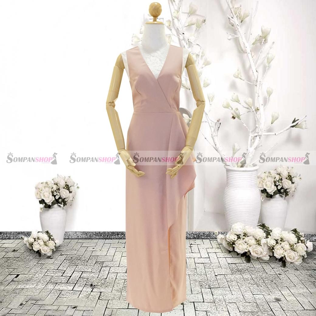ชุดเดรสออกงานสีชมพูกะปิ คอวี เอวจับจีบระบาย ลุคเรียบๆ สวยหรู ดูสง่า เหมาะสำหรับใส่ออกงาน ไปงานแต่งงาน ( พร้อมส่ง )